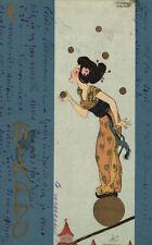 KIRCHNER PC, ARTIST SIGNED, MIKADO, JUGGLING LADY, ART NOUVEAU, D14-5 (b2244)