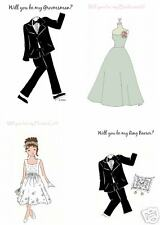 Will you be my. bridal party cards sage green dress mix