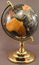 Genuine Multi-Gemstone Desktop Globe Gold Tone Base Black Globe Free S & H