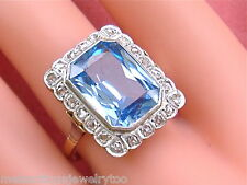 ANTIQUE ART DECO 8ct BLUE SPINEL .38ctw ROSE DIAMOND PLATINUM 18K RING 1930 sz10