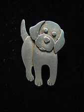 """""""JJ"""" Jonette Jewelry Silver Pewter 'TOO Cuuute Dog' Pin"""