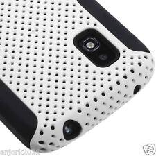 LG Nexus 4 E960 Google Phone Mesh Hybrid Case Skin Cover White Black