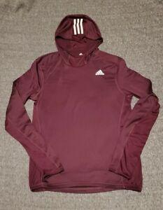 Mens Adidas Climawarm Long Sleeve Pullover Hooded Shirt Size Medium Burgundy