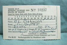 1950 3 Day Fishing License State Maine