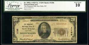 1929 $20 New Paltz National Bank Note Fr.1802-1 Ch#1186 Very Good 10 #C000071A