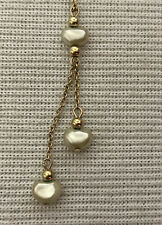 Avon Mother of  Pearl heart beads Dangle Gold tone Chain Necklace