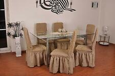6 Stuhlhusse Stretch Universal Stuhlüberzug Stuhlbezug Stuhl camel elfenbein