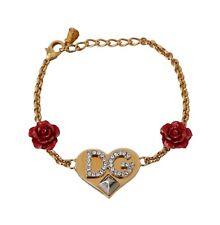 DOLCE & GABBANA Bracelet Chain Gold Brass Crystal DG Logo Roses Charm