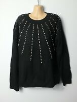 NEXT soft black knitted sparkly gemstone & pearl beaded oversized jumper, 12-14