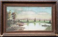 BEAUTIFUL ANTIQUE LANDSCAPE LAKE RIVER PAINTING SIGNED ABW MOORE 1920