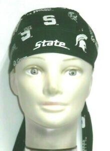 Skull Cap for University of Michigan Spartans Green 100% Cotton #422 Handmade