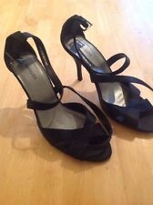 "Barratts Size 8 Black Strappy Shoes - 3.5"" Heel"