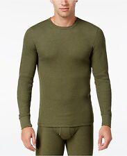 $60 ALFANI Men's THERMAL KNIT SHIRT Long Sleeve GREEN CREW NECK UNDERWEAR SIZE M