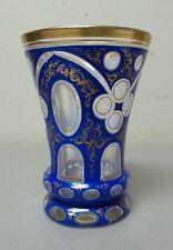 BOHEMIAN CZECH CASED OVERLAY 3-LAYER GLASS BEAKER / TUMBLER, ROYAL BLUE (#1)