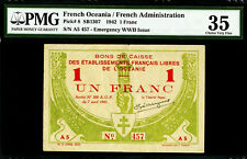 French Oceania One Franc 1942 Emergency WWII Issue Pick-8 Very Fine PMG 35