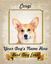 Corgi Personalized Dog Art Home Decor Printed on 8x10 Inch See Video
