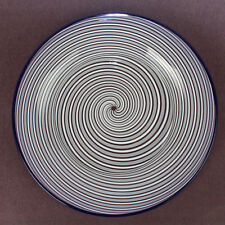 Antique White & Clear Clichy Swirl French Art Plate w Blue Rim - Paperweight Gl