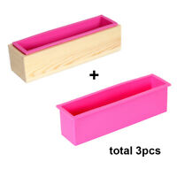 1000g Silicone Loaf Soap Mold Rectangular Moulds match Wooden Box Flexible Reusa
