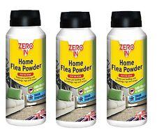 3 X Zero In  Household Flea Powder Pet Bedding Rugs 900g STV