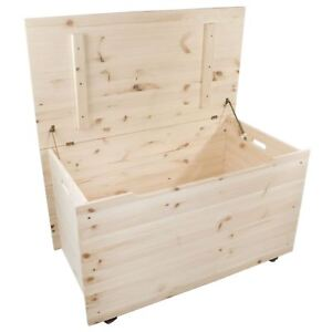 XXLarge Wooden Storage Trunk Toy Box Bedroom Chest / Unpainted Pine To Decorate