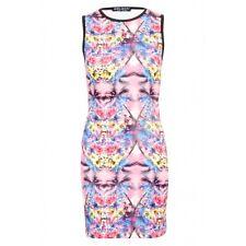 Select Mirror Tropical Scuba Bodycon Dress Size 8 UK Multi