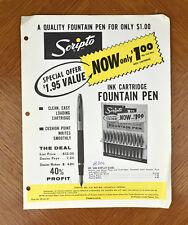 VTG 1960s Paper Ephemera Scripto Ink Cartridge Fountain Pen Advertising [a20]