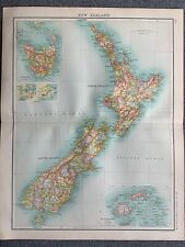 1902 NEW ZEALAND ORIGINAL ANTIQUE COLOUR MAP BY JOHN BARTHOLOMEW