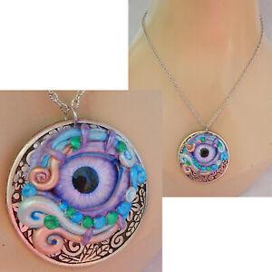 Third Eye Pendant Necklace Jewelry Handmade NEW Hand Silver Clay Chakra Chain