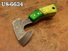 """3.0""""CUSTOM DAMASCUS STEEL MINI HATCHET AXE NECK KNIFE,STAINED CAMEL BONE US-6634"""