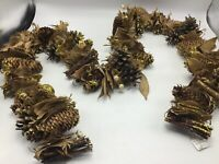 Garland Christmas Decor Rustic Pine Cones Nuts Brown Old Fashioned Xmas Holiday