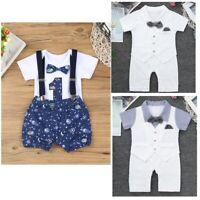 Infant Baby Boys Romper Jumpsuit Gentleman Outfit Bodysuit Bowtie Summer Clothes