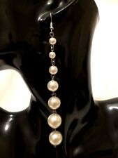 Womens STATEMENT Silver Cream BEADED Faux Pearl Drop Dangle Earrings Long Large