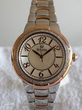 Bulova 98R162 Ladies Mother of Pearl Dial Diamond Rosedale Watch RRP £395/- NEW