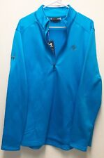 Under Armour UA Golf Outerwear Pullover Half Zip Blue Logo'd Cold Gear