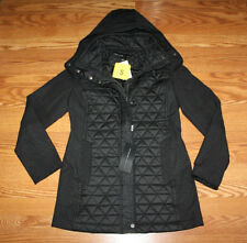 NWT Womens ANDREW MARC Black Hooded Quilted Puffer Jacket Coat Size S Small