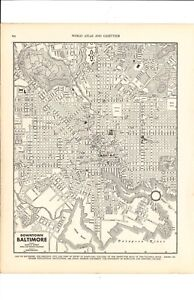 1947 Vintage DOWNTOWN BALTIMORE MARYLAND Map ready to frame for art
