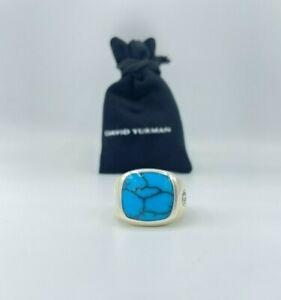 David Yurman Signet Exotic Ring Turquoise 18mmx18mm size 11