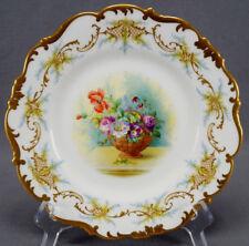 Brown Westhead Moore Cauldon Hand Painted F Hillman Floral Gilt Scrolls Plate B