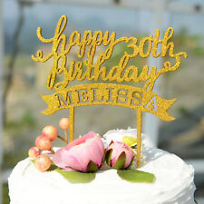 Personalized Wood Birthday Cake Topper Painted in Glitter Gold 088 - Bridenew