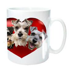 Schnauzer Mug 3 Miniature Schnauzers in Heart Schnauzer Dogs, Xmas Birthday Gift