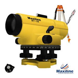 Maxiline BT32 x Automatic Dumpy Level + Tripod and Staff Rotary Rotating Base