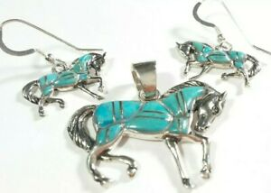 925 STERLING SILVER SEGMENTED TURQUOISE EARRINGS & PENDANT HORSES MATCHING SET