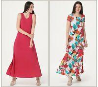 Attitudes by Renee Regular Como Jersey Set of 2 Maxi Dress Rose Floral 1X