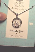 """Letter L initial circle + crystals 925 sterling silver plt pendant 18"""" necklace"""