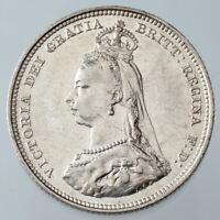 1887 Great Britain Shilling KM #761 XF/AU Condition