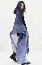 NEW Urban Outfitters blue Ombre Crinkled Hooded Maxi Duster Kimono Poncho O/S