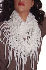 Womens Infinity Fishnet Fringe White Fashion Scarf One Size Sm Med Lg XL NEW NWT