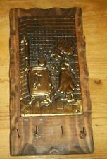 Vintage Holly Hobbie Style Brass and Wood Key Rack