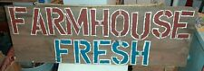 """Old Large Antique Handpainted """"Farmhouse Fresh"""" Sign Wooden"""