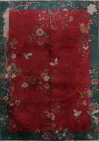 ANTIQUE ART DECO NICHOLS CHINESE RED/GREEN AREA RUG FLORAL BUTTERFLY MOTIF 9X12